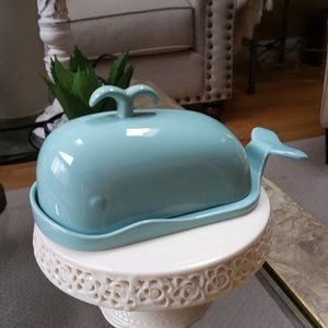 NEW! Beach COTTAGE Ceramic WHALE Butter DISH